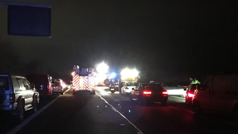 Two men have died and another has been left with serious leg injuries after a multi-vehicle crash on the M40 in Oxfordshire. Pic: @firebicester