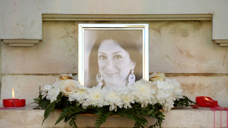 A monument in Valletta has turned in to a temporary shrine to Daphne Caruana Galizia