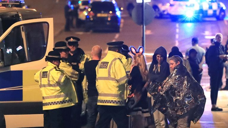 Police close to the Manchester Arena after a terrorist attack at the end of a concert by US star Ariana Grande.