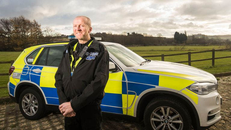 PC Martin Willis clung onto a van about to fall onto the A64 near Leeds