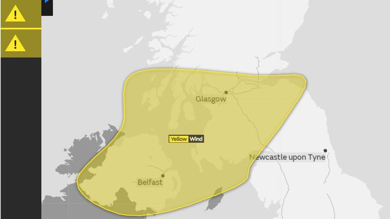 Scotland and Northern Ireland will be worst hit by Storm Dylan on Sunday. Pic: Met Office