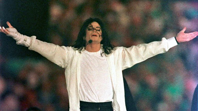Michael Jackson performs during the halftime show at the Super Bowl in 1993