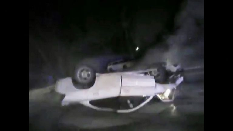 Driver rescued from burning car