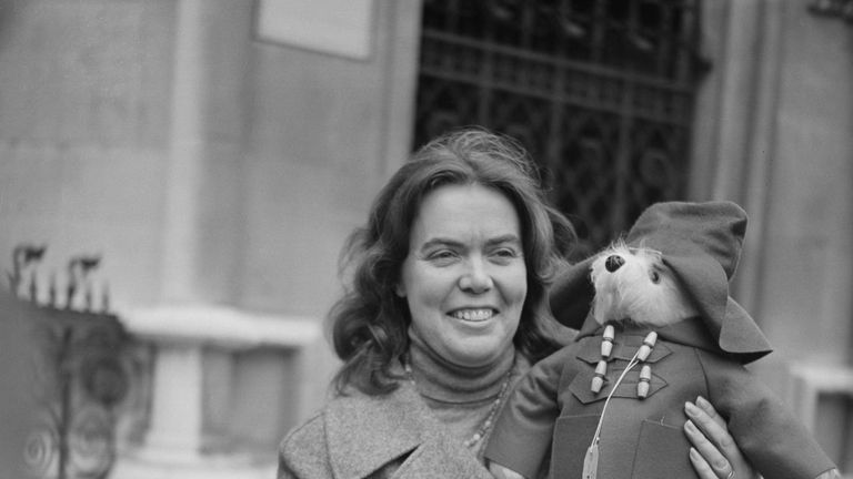 Manufacturer Shirley Clarkson holding a Paddington Bear toy