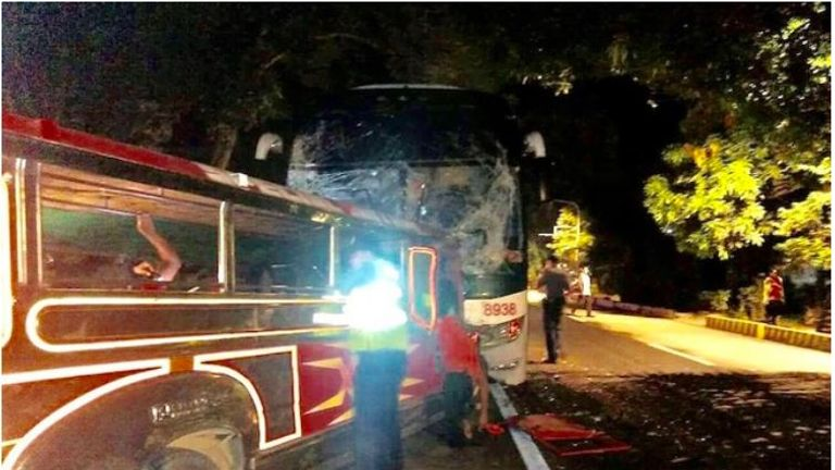 The two buses were in a head-on collision in Agoo, La Union, in the northern Philippines. Pic: Agoo Police