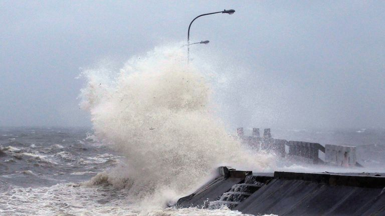 A typhoon has hampered rescue efforts