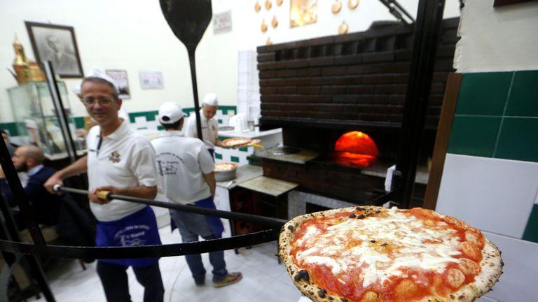 Pizza Margherita at L'Antica Pizzeria da Michele in Naples, Italy