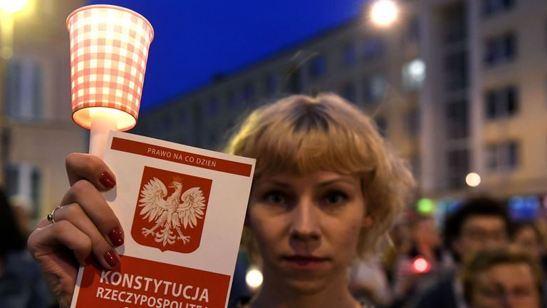 Protesters took to the streets across Poland in the summer after MPs adopted a controversial reform of the Supreme Court