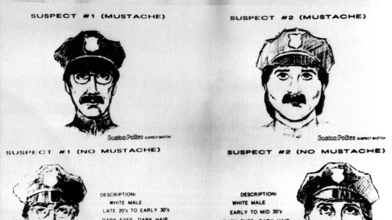 The Federal Bureau of Investigation released four sketches on March 21, 1990, of the two suspects being sought in the multi-million dollar robbery of the Isabella Stewart Gardner Museum in Boston. The two entered the museum on March 18, dressed as police officers and stole 12 works of art by Rembrandt, Degas, Manet and other artists. The suspects sketches were drawn with and without mustaches because police believe the mens mustaches may have been fake.