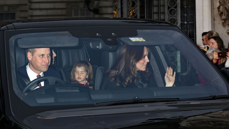 The Duke and Duchess of Cambridge arriving for lunch at the palace