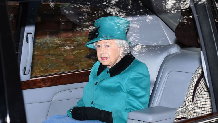 The Queen was also at the church service