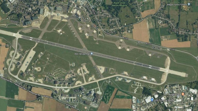RAF Mildenhall is on lockdown. Pic: Google Earth