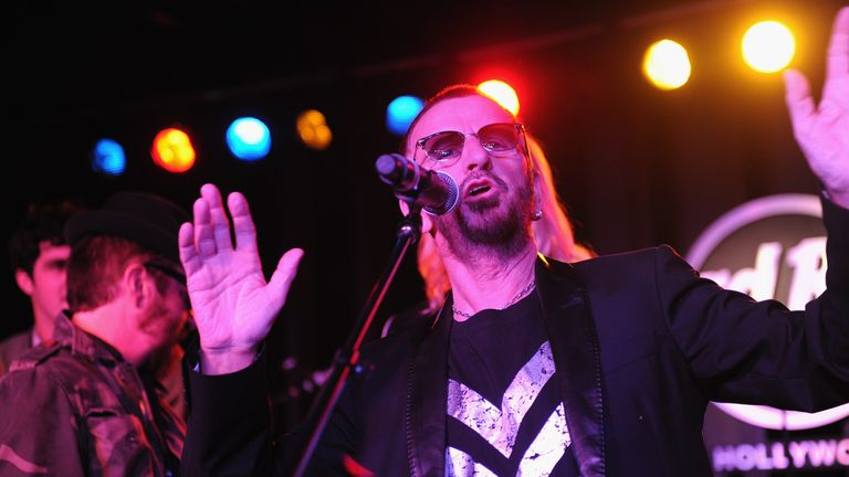 "2010:  Ringo Starr performs at Hard Rock's ""Imagine There's No Hunger: Celebrating the Songs of John Lennon"" in Hollywood, California"