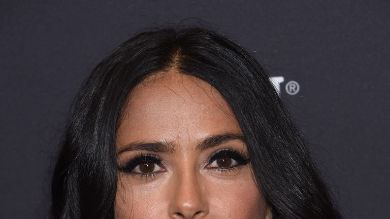 Actress Salma Hayek attends the Hollywood Foreign Press Association (HFPA) and InStyle celebration of the 75th Annual Golden Globe Awards season at Catch LA in West Hollywood, on November 15, 2017. / AFP PHOTO / CHRIS DELMAS (Photo credit should read CHRIS DELMAS/AFP/Getty Images)