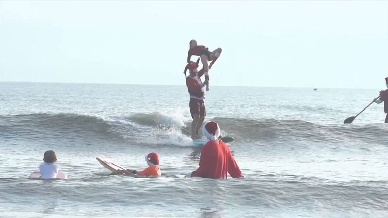 Some Santas showed off their acrobatic skills