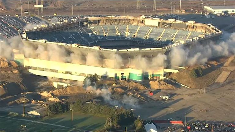 The partial implosion of the Silverdome