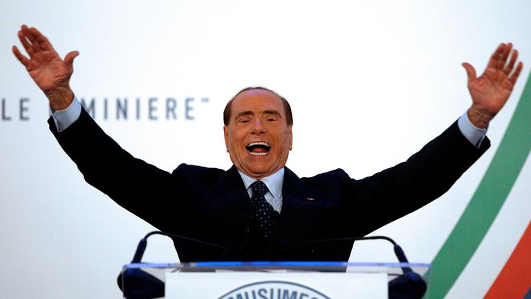 Forza Italia party leader Silvio Berlusconi gestures as he speaks during a rally in Catania, Italy, November 2, 2017