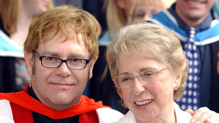 Sir Elton with his mother Sheila Farebrother in 2002