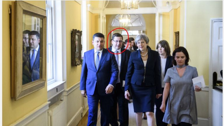 Stanislav Yezhov is seen with Theresa May and the Ukrainian PM in Downing Street last July