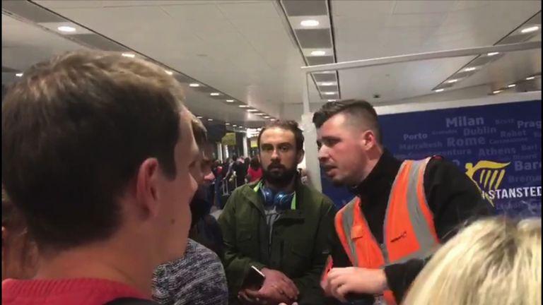 Ryanair passengers seek information at Stansted PIC: Sophia Sleigh
