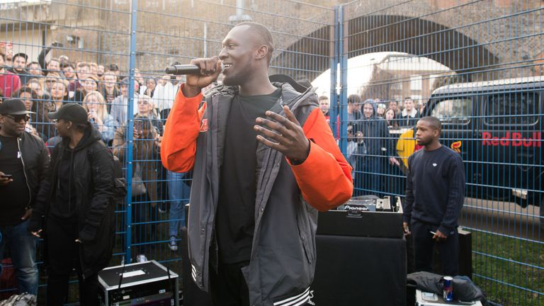 Stormzy has played at a fan's father's funeral after promising he would on twitter. File pic