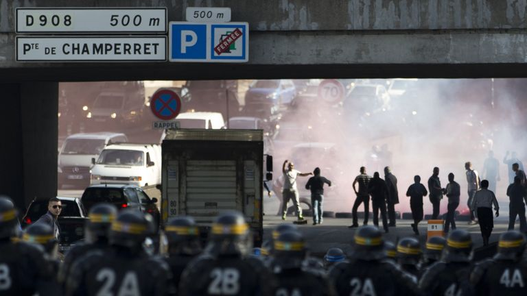 June 2015: Taxi drivers riot in Porte Maillot, Paris, over the UberPOP app