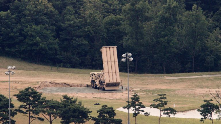 A THAAD interceptor on a former golf course in South Korea