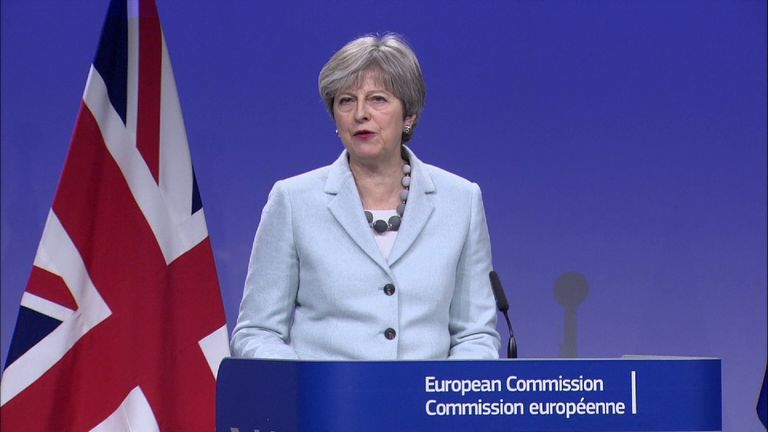Theresa May at a press conference in Brussels after agreeing a Brexit deal with the EU