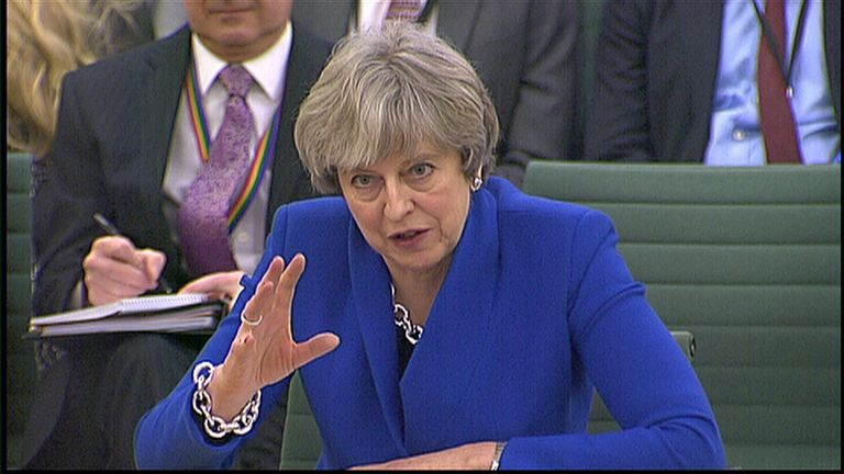 Theresa May in front of the Liaison Committee