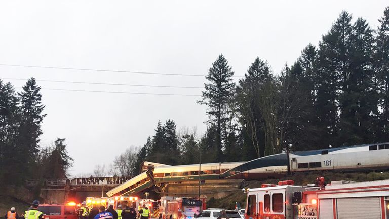 Scene of derailment. Pic: Pierce County Sheriff.