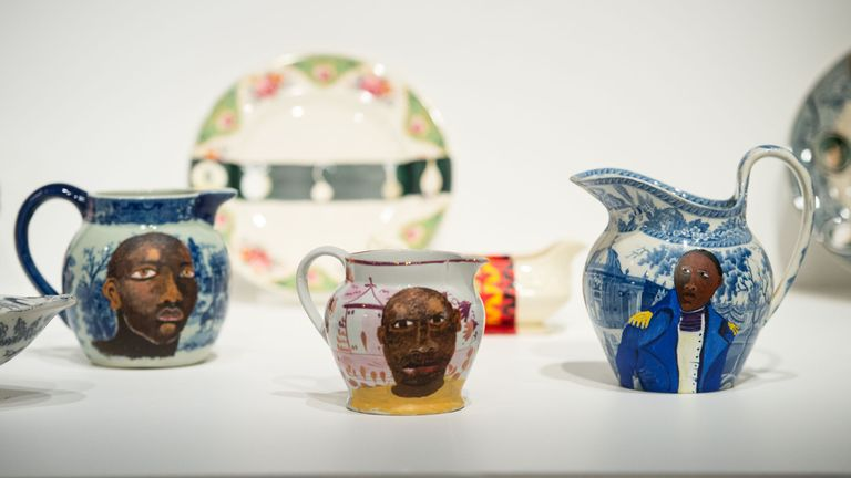 Pottery by Lubaina Himid, entitled 'Swallow Hard'