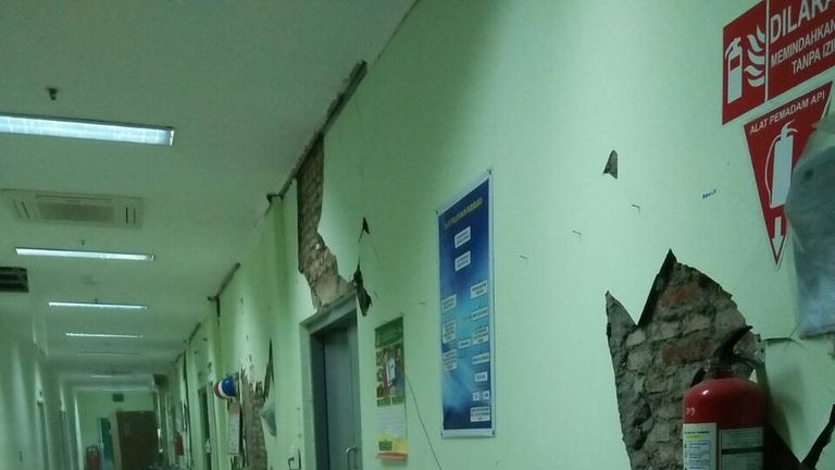 Damage at the provincial hospital in Banyumas