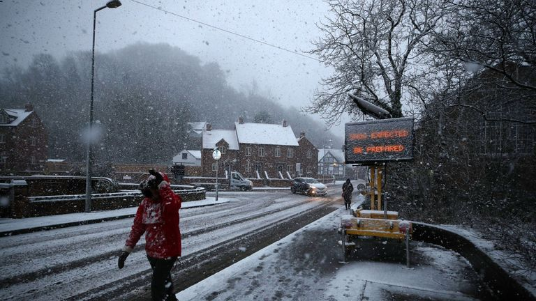 Snow falls in Ironbridge, Shropshire, as parts of Britain woke up to a blanket of snow caused by an Arctic airflow in the wake of Storm Caroline