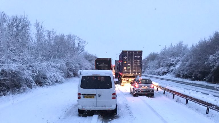 Stationary traffic on the A14 in Northamptonshire westbound between Junction 2-3. Pic: Sean Byrne