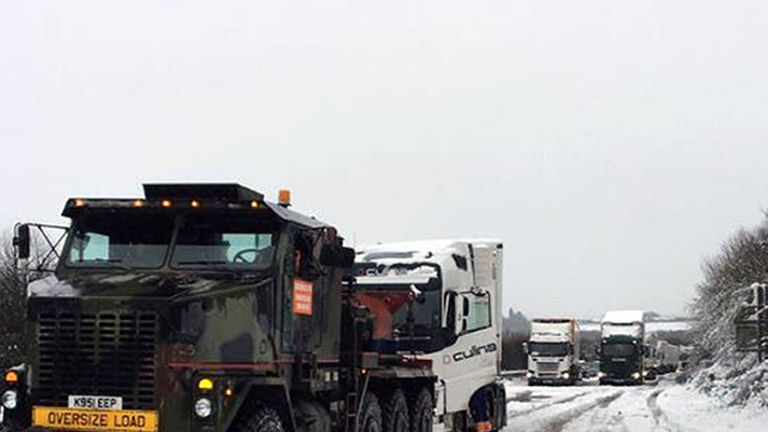 Northants Police Tactical Support Team handout photo of stuck lorries on the A14 westbound between J1 and J8