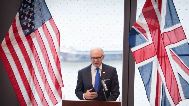 US Ambassador to the UK Robert Wood Johnson speaks at the unveiling of the new US Embassy building
