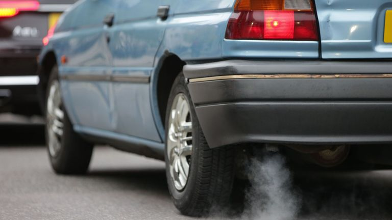 Fumes from the exhaust of a car
