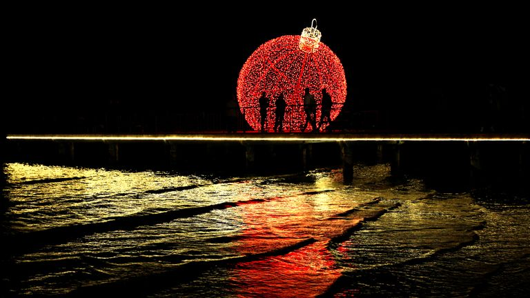 A giant illuminated Christmas ball in Larnaca, Cyprus
