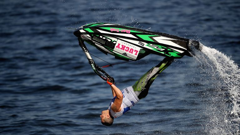 Alberto Camerlengo of Italy competes in the Freestyle during the UIM-ABP Aquabike Class Pro Circuit  - Grand Prix of Sharjah at Khalid Lagoon, UAE