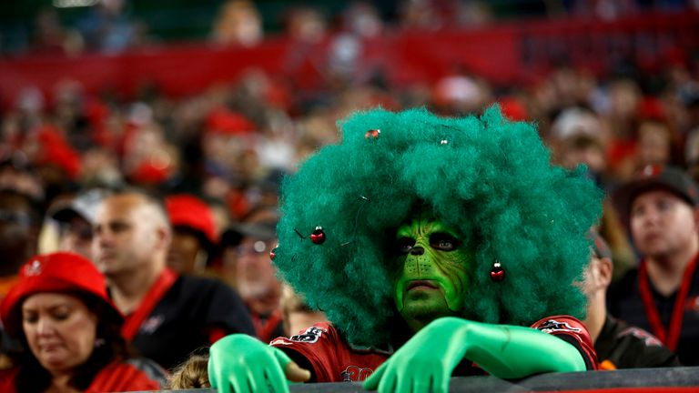 A Tampa Bay Buccaneers fan dressed as the Grinch watches an NFL football game against the Atlanta Falcons in Tampa, Florida