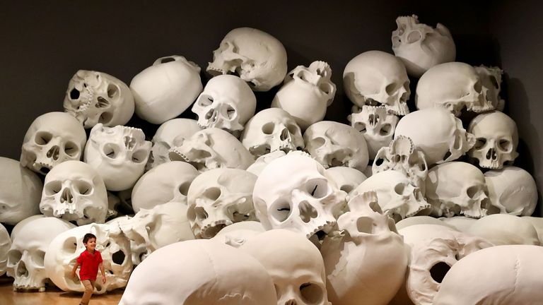 Artist Ron Mueck's world-premiere installation 'Mass', consisting of 100 skulls each measuring 1.5m x 2m during a media preview  in Melbourne, Australia