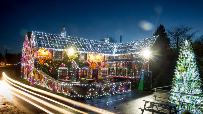 The Queen Victoria Inn in the village of Priddy has been transformed into a giant gingerbread house in time for Christmas, near Wells in Somerset