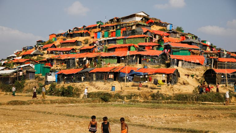 Rohingya refugee children at the Palongkhali refugee camp near Cox's Bazar, Bangladesh