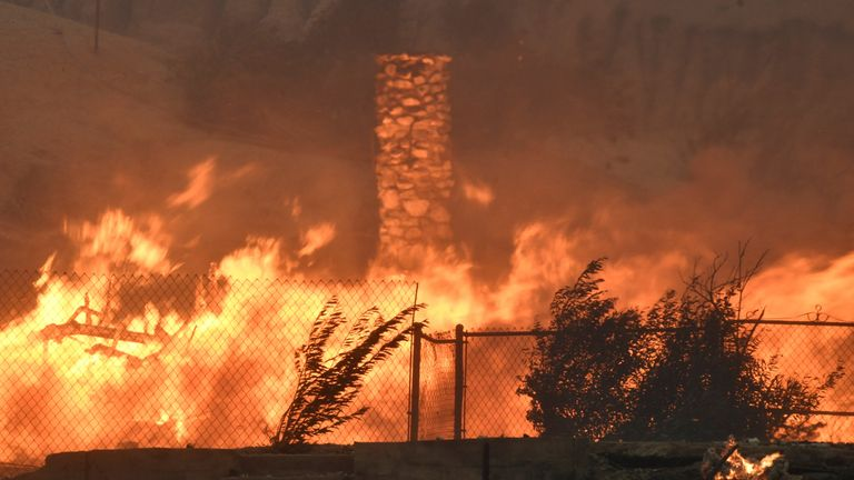 One of many homes destroyed by an early-morning Creek Fire that broke out in the Kagel Canyon area in the San Fernando Valley