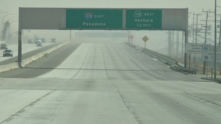 The empty east bound 210 freeway after it was shut down