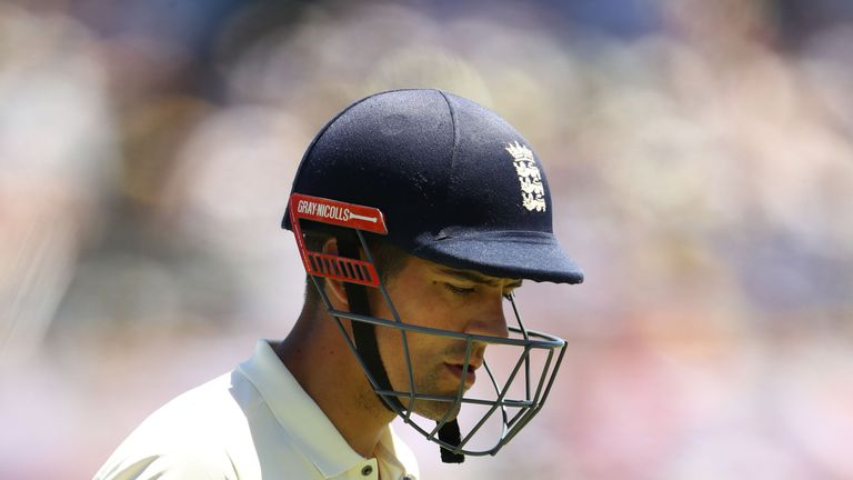 PERTH, AUSTRALIA - DECEMBER 14:  Alastair Cook of England looks dejected after being dismissed by Mitchell Starc of Australia during day one of the Third T