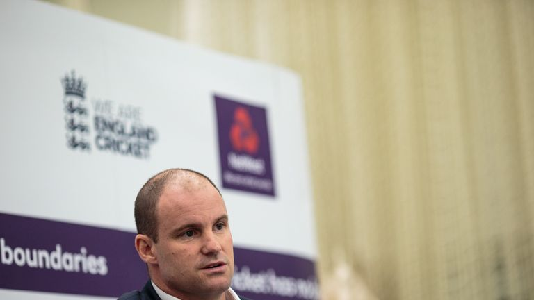LONDON, ENGLAND - SEPTEMBER 27: Former English international cricketer Andrew Strauss holds a press conference at The Kia Oval on September 27, 2017 in Lon