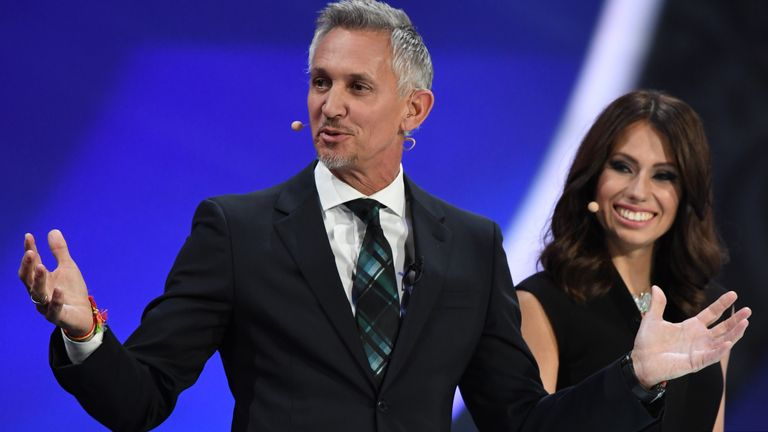 Gary Lineker and Russian sports journalist and draw conductor Maria Komandnaya conduct the 2018 FIFA World Cup draw in Moscow