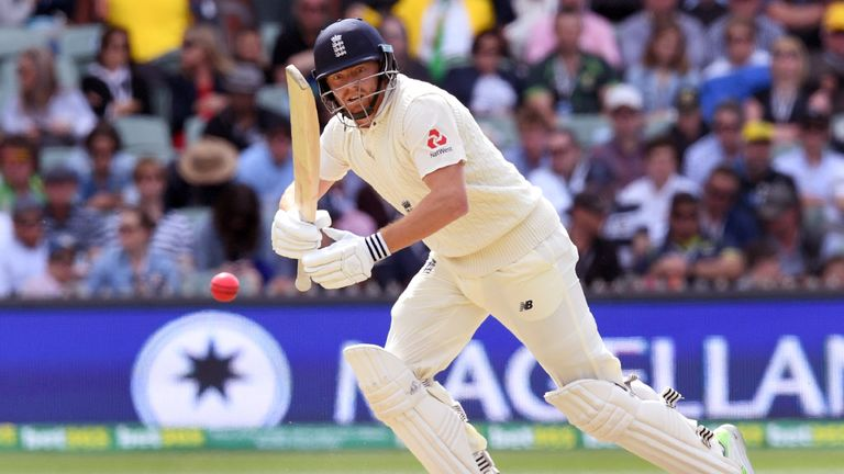 England batsman Jonny Bairstow steers a ball away from the Australian bowling on the third day of the second Ashes cricket Test match in Adelaide