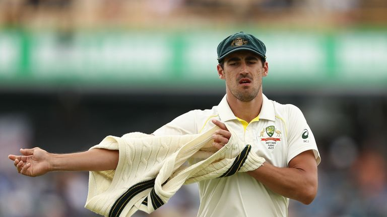 PERTH, AUSTRALIA - DECEMBER 18:  Mitchell Starc of Australia looks on during day five of the Third Test match during the 2017/18 Ashes Series between Austr